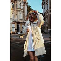 Куртка пуховик женская теплая с капюшоном Зима 7659 молочный, фото 1