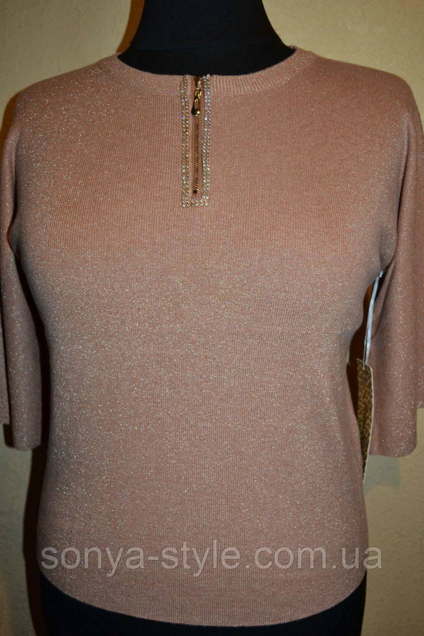 Женская кофта с молнией на груди    больших размеров