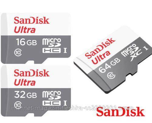 Карта памяти microSDHC (UHS-1) SanDisk Ultra 16Gb class 10 (80Mb/s)