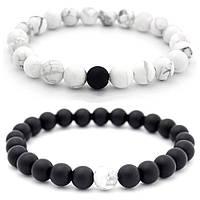 Парные браслеты Инь-Янь из кахолонга и шунгита (черный, белый)