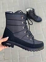 Ботинки женские оптом на шнуровке черные
