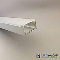 Широкий светодиодный профиль под две светодиодные ленты встраиваемый 70(55)х32 мм + рассеиватель в комплекте