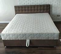 Кровать Альянс Камила 1,4 в обивке под замш цвета мокка с матрасом и подъёмным механизмом с пуговицами, фото 1