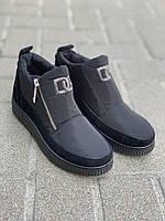 Ботинки женские оптом на замке черные с серебристой нашивкой ДАГО, фото 1