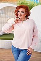 Красивая женская Блуза , длинный рукав   50-52, 54-56  Цвет- белый, терракотовый ,персик