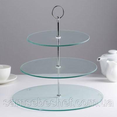 Стойка подставка фуршетная для пирожных капкейков трехъярусная Ø 20, 25, 30 см