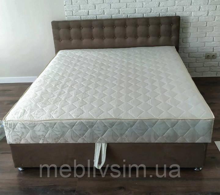 Кровать Альянс Камила 1,8 в обивке под замш цвета мокка с матрасом и подъёмным механизмом с пуговицами