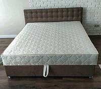 Кровать Альянс Камила 1,8 в обивке под замш цвета мокка с матрасом и подъёмным механизмом с пуговицами, фото 1