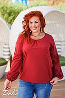 Красивая женская Блуза , длинный рукав   50-52, 54-56  Цвет- белый, терракотовый ,серый