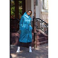 Пальто одеяло женское теплое с поясом 7654 р 42-52, фото 1