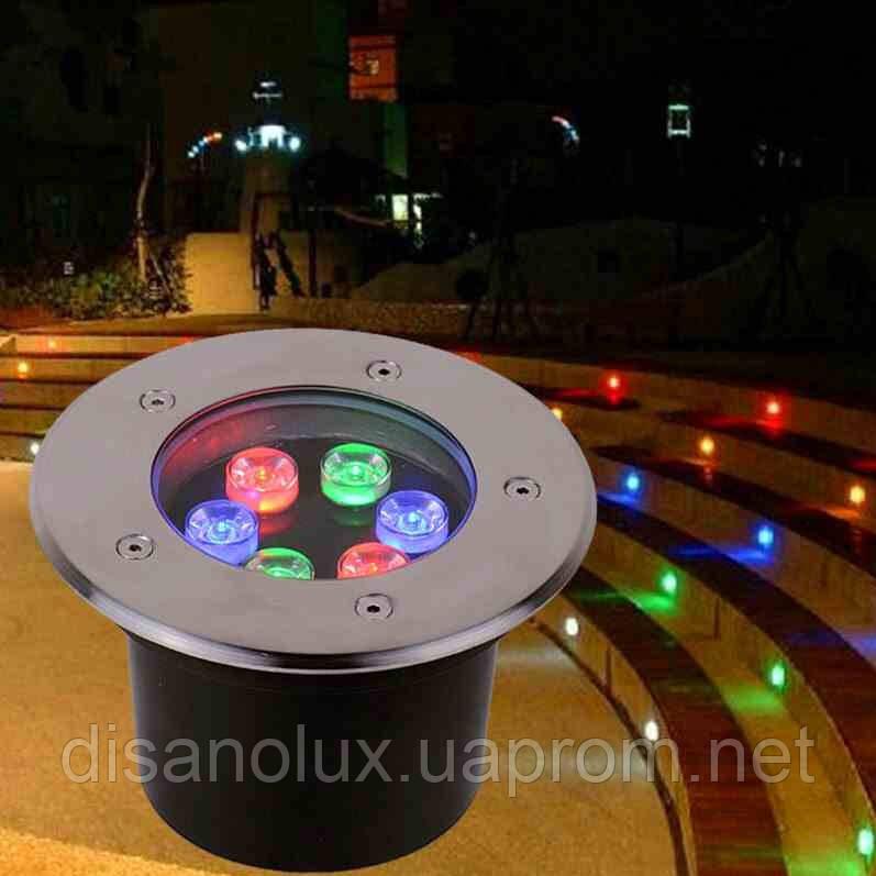 Светильник грунтовый LED UG-0601  6W RGB 12V  IP67 размер 150мм*90мм