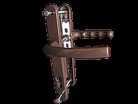 Нажимной гарнитур VORNE 25/85/200 мм з пружиной  коричневый для дверей ПВХ (дверные нажимные ручки)