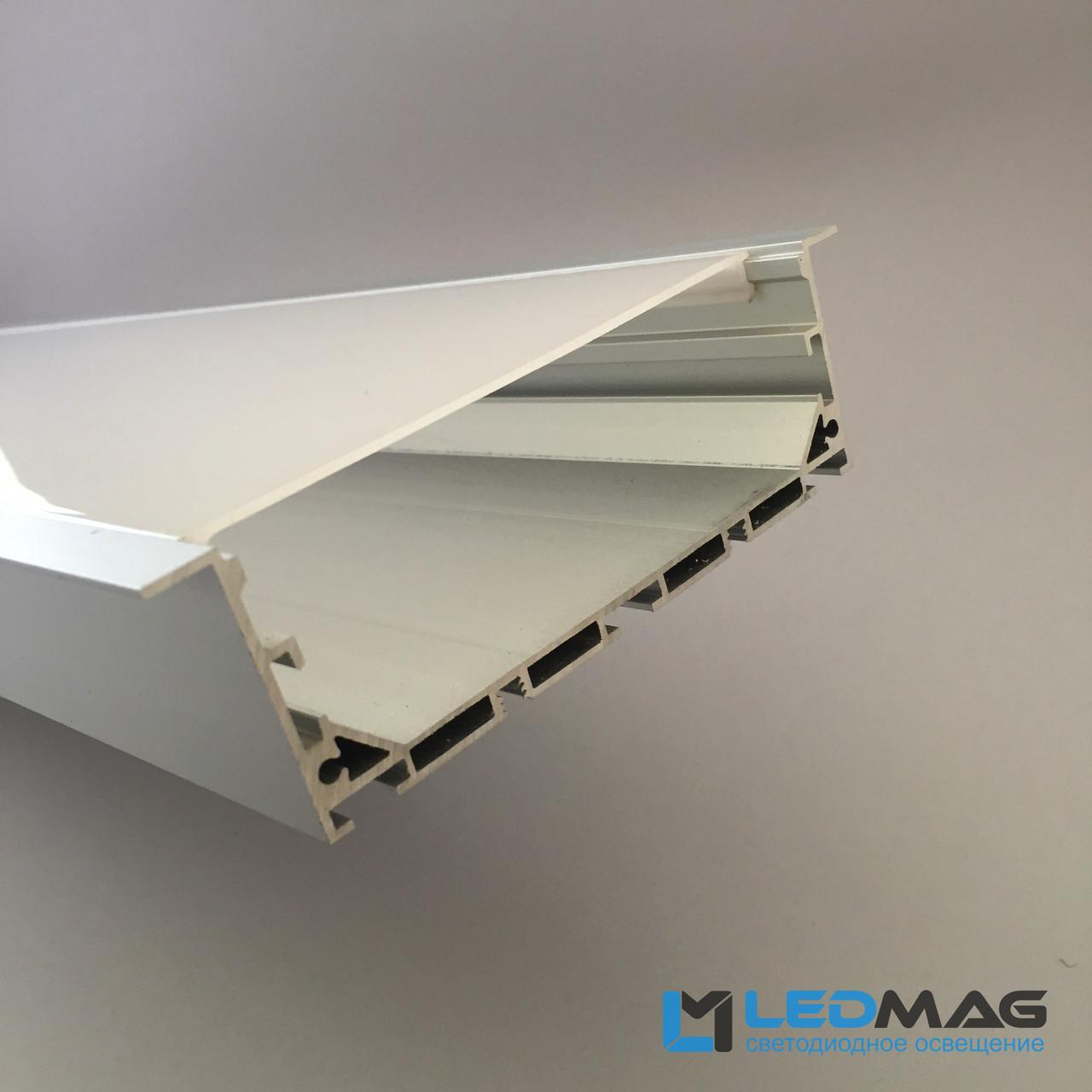 Широкий светодиодный профиль под две светодиодные ленты встраиваемый 115(100)х35 мм + рассеиватель в комплекте
