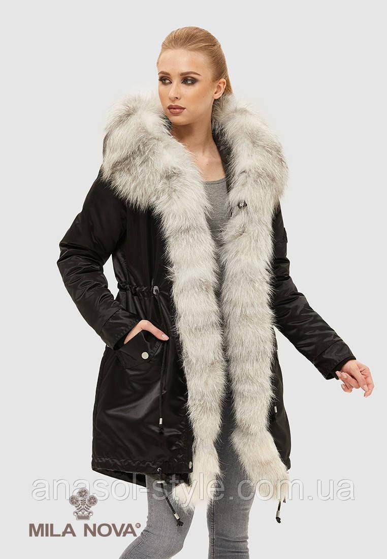 Парку жіноча зимова натуральне хутро чорнобурки чорна з білим
