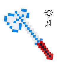 Топор Майнкрафт свет, звук (красно-белый)