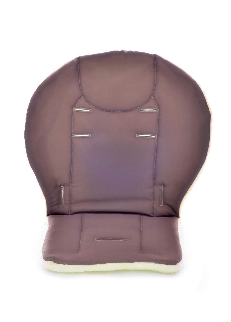Утепленный матрасик - вкладыш на овчине в коляску DavLu с бортиками коричневый, фото 1