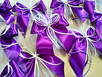 Украшение на ручку свадебной машины Bow. Цвет фиолетовый. Цена за 1 шт.