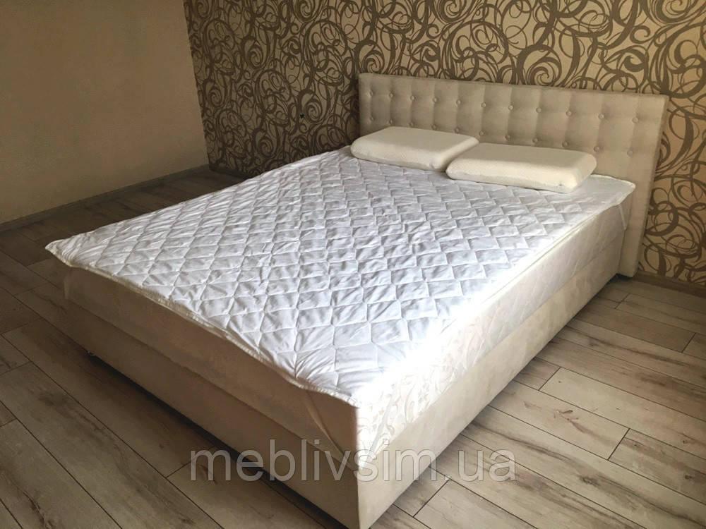 Кровать Альянс Камила 1,6 в обивке под замш цвета топл. молоко с матрасом и подъёмным механизмом с пуговицами