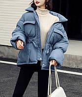 Куртка женская теплая с пояском (синяя)