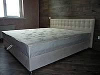 Кровать Альянс Камила 1,8 в обивке под замш цвета топл. молоко с матрасом и подъёмным механизмом без пуговиц, фото 1