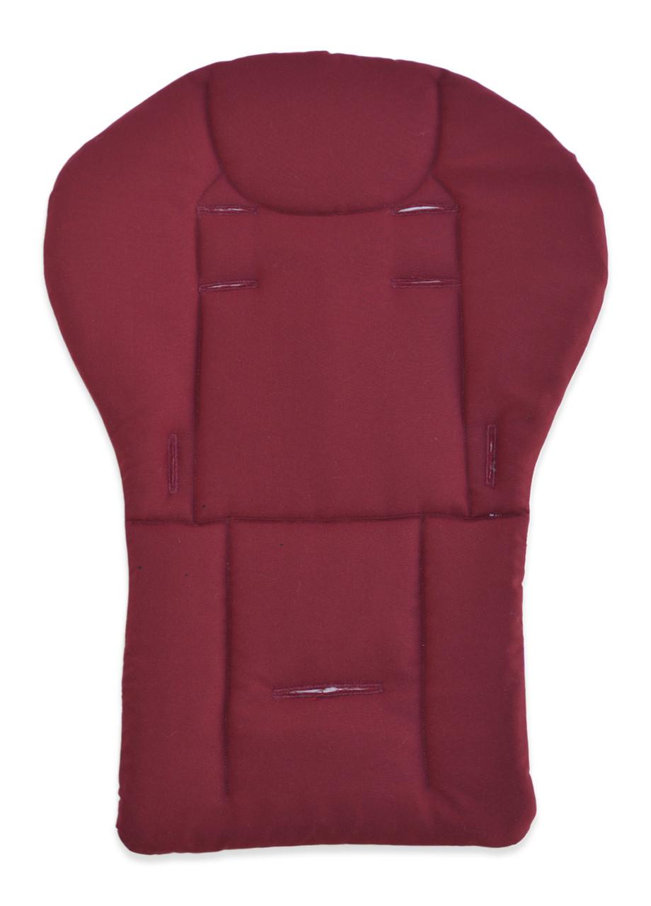 Утепленный матрасик - вкладыш на овчине в коляску DavLu с бортиками 72x50 см бордовый (V-305), фото 1