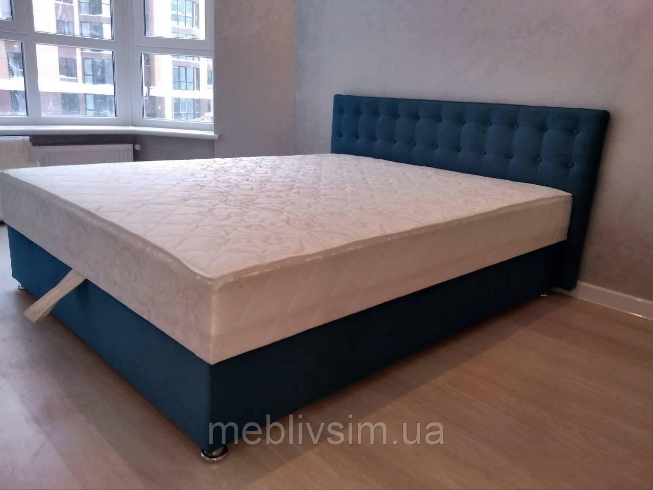 Кровать Альянс Камила 1,4 в велюровой обивке бирюзового цвета с матрасом и подъёмным механизмом с пуговицами