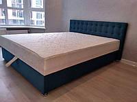 Кровать Альянс Камила 1,4 в велюровой обивке бирюзового цвета с матрасом и подъёмным механизмом с пуговицами, фото 1
