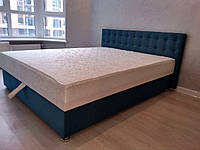 Кровать Альянс Камила 1,6 в велюровой обивке бирюзового цвета с матрасом и подъёмным механизмом с пуговицами, фото 1