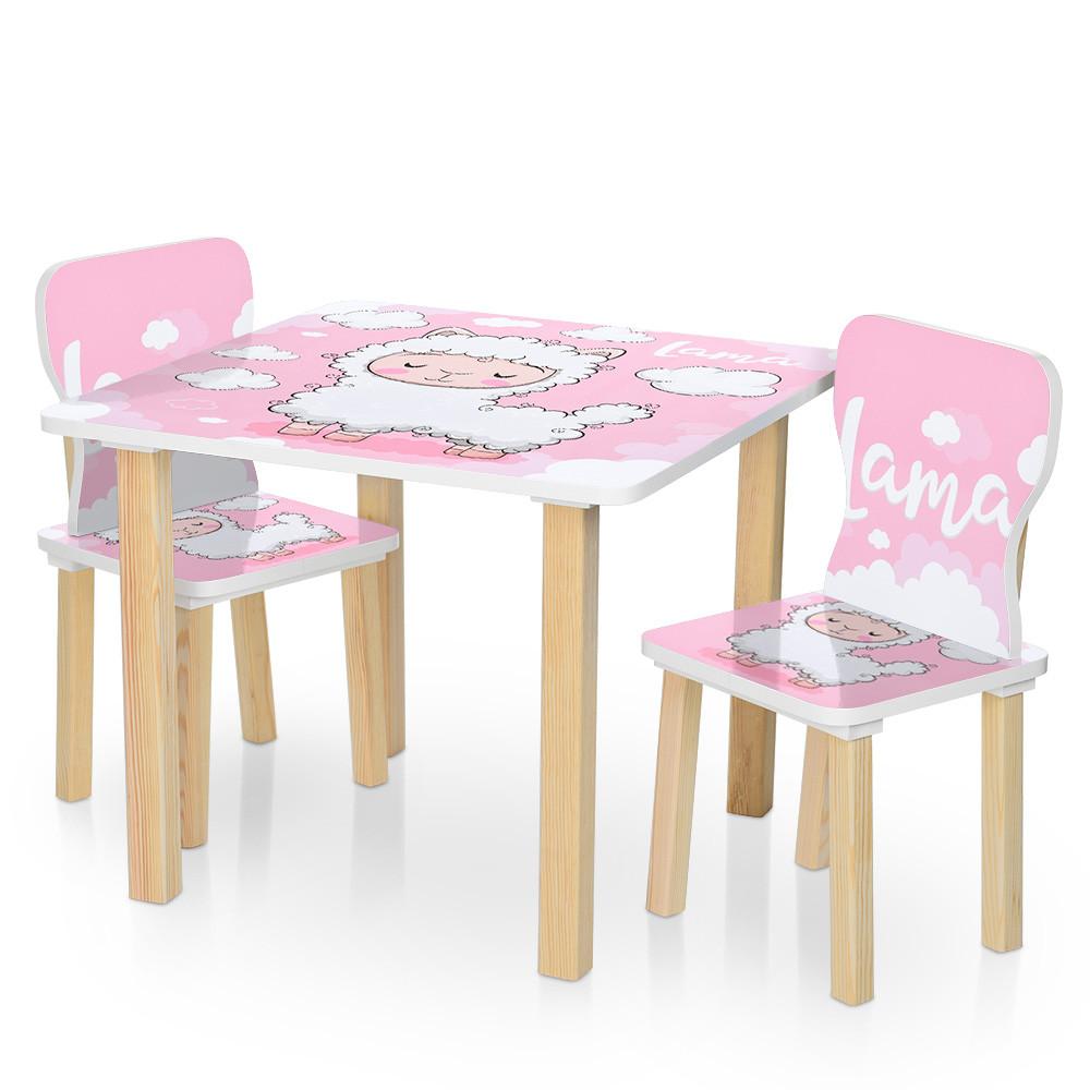 Столик деревянный с двумя стульчиками  506-72 Овечка