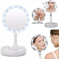 Косметическое зеркало с Led подсветкой Floxite 10x Plus 1x