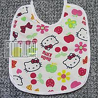 Детский непромокаемый слюнявчик (нагрудник) новорожденного для девочки девочке на завязках 4617 Малиновый