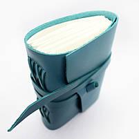 Кожаный блокнот COMFY STRAP В6 женский бирюза ручная работа, фото 4
