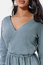 Осеннее теплое платье с поясом длинный рукав длина миди цвет серо-голубой, фото 2