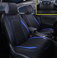 Автомобильные чехлы на сидения GS черный с синей строчкой для Renault авточехлы