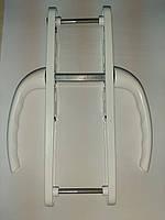 """Нажимной гарнитур """"OPERA"""" 25-85/200 мм c пружиной белый для ПВХ дверей (дверная ручка)"""