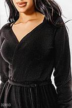 Теплое платье на каждый день объемный длинный рукав на эластичной манжете отрезная талия цвет черный, фото 3