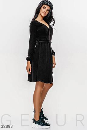 Теплое платье на каждый день объемный длинный рукав на эластичной манжете отрезная талия цвет черный, фото 2