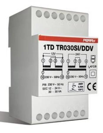 Трансформатор 230/24/12 VAC, 30 Вт, на DIN-рейку