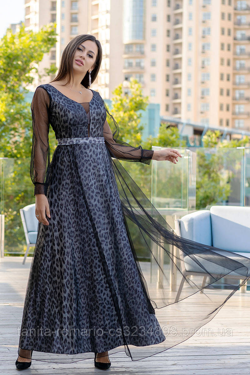 Вечернее платье 9147e Графитовый S(р)