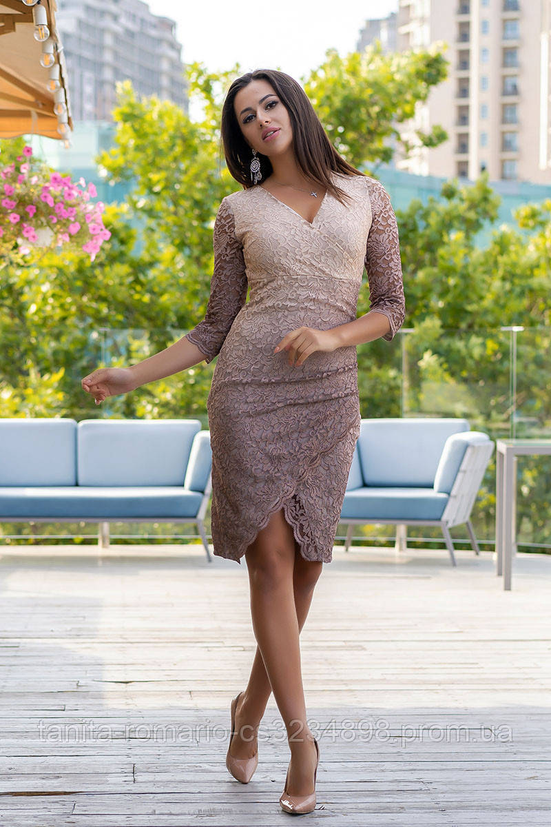 Коктейльное платье 9130e Бежевый M(р)
