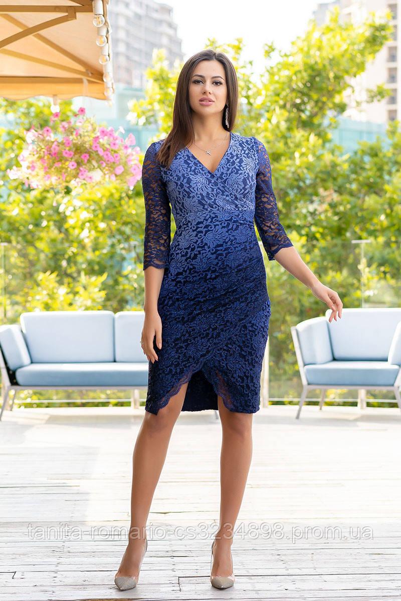 Коктейльное платье 9130e Синий  S M L
