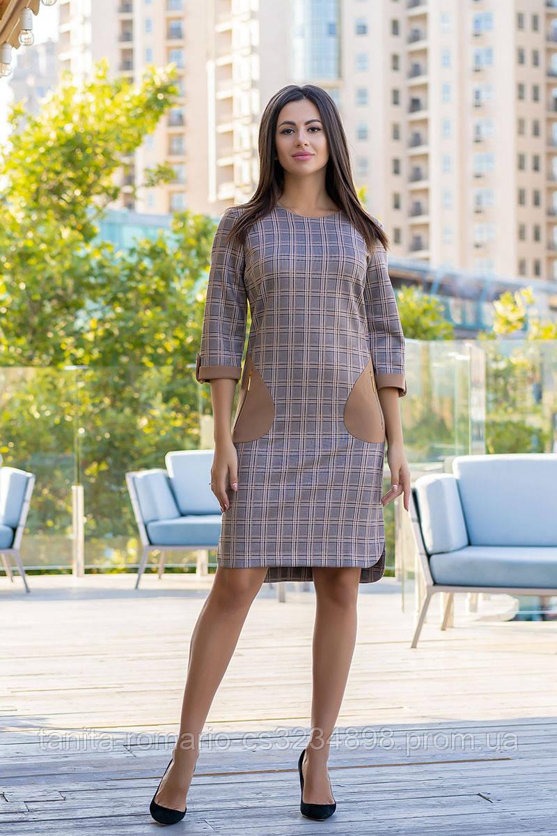 Повседневное платье 8142e Бежевый S(р)