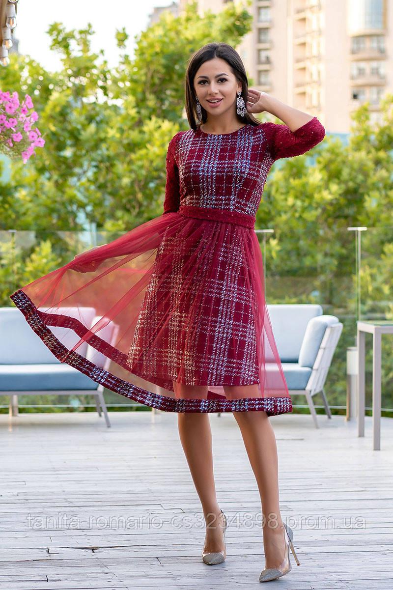 Повседневное платье 9168e Бордо L(р)