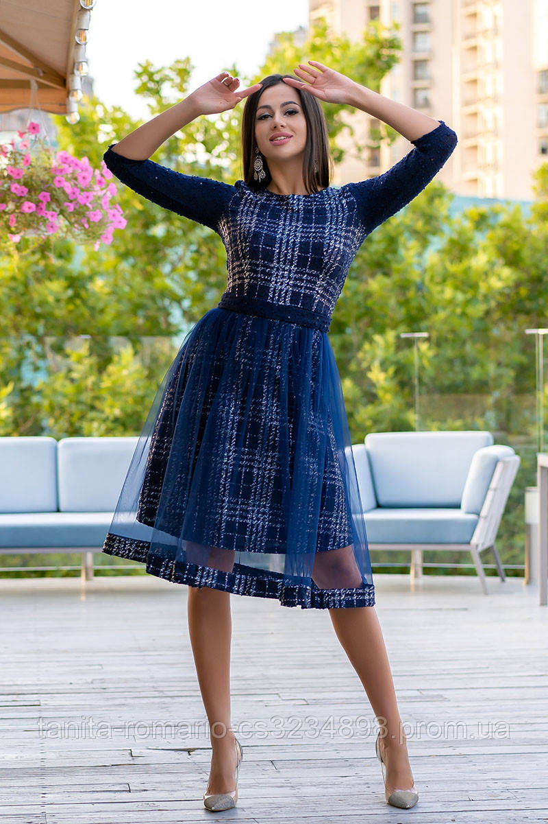 Повседневное платье 9168e Синий S(р)