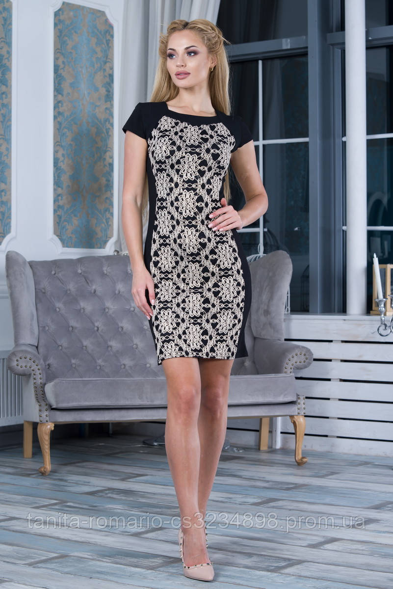 Коктейльное платье 7260e Бежевый M(р)