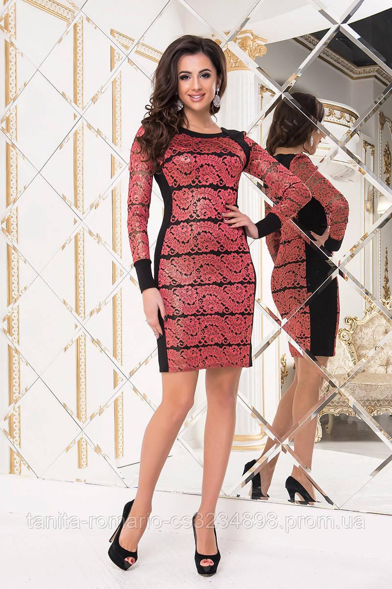Коктейльное платье 7262e Красный L(р)