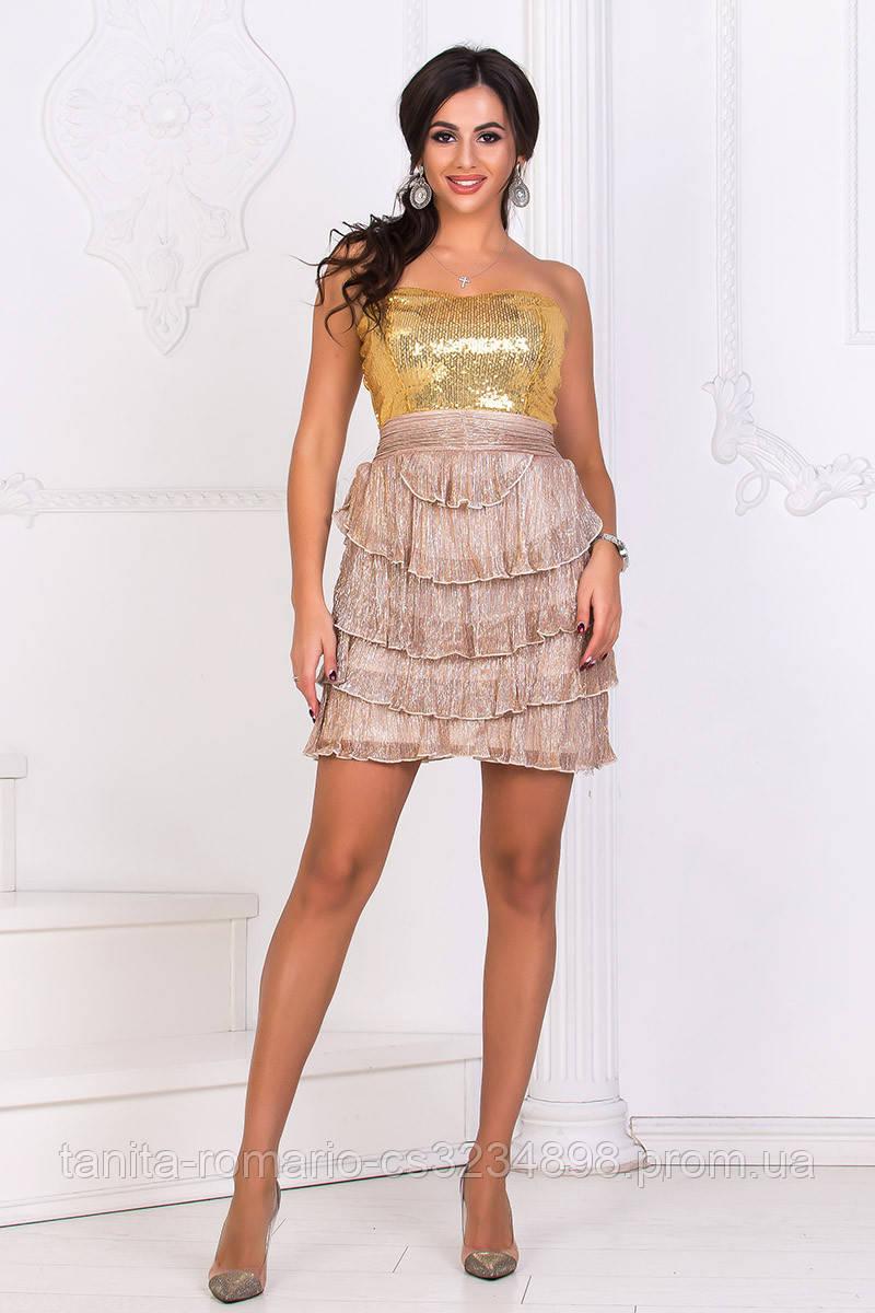 Коктейльно-клубное  платье Бежевого цвета