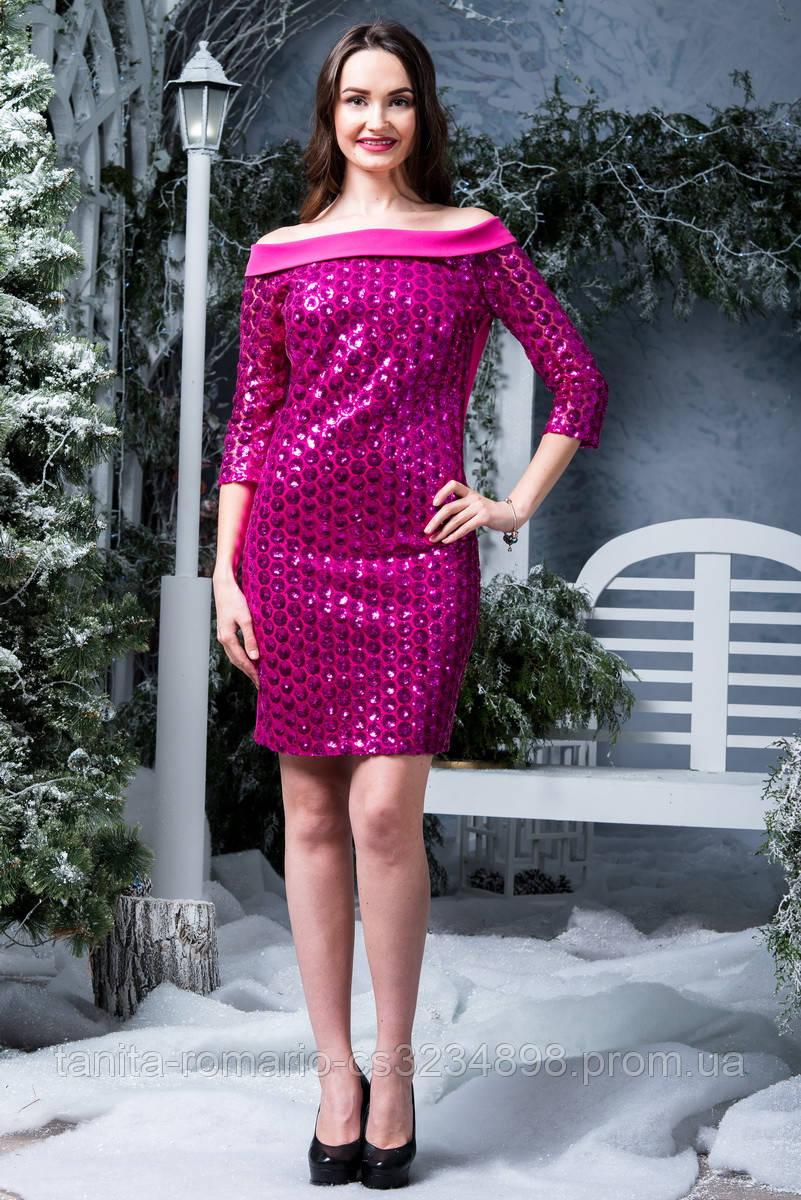 Коктейльное платье 6280e Малиновый L(р)