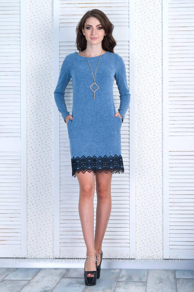 Повседневное платье 6301e Голубой S(р)