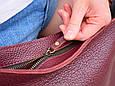 """Сумка жіноча шкіряна на плече """"Листоноша"""". Колір бордовий, фото 4"""